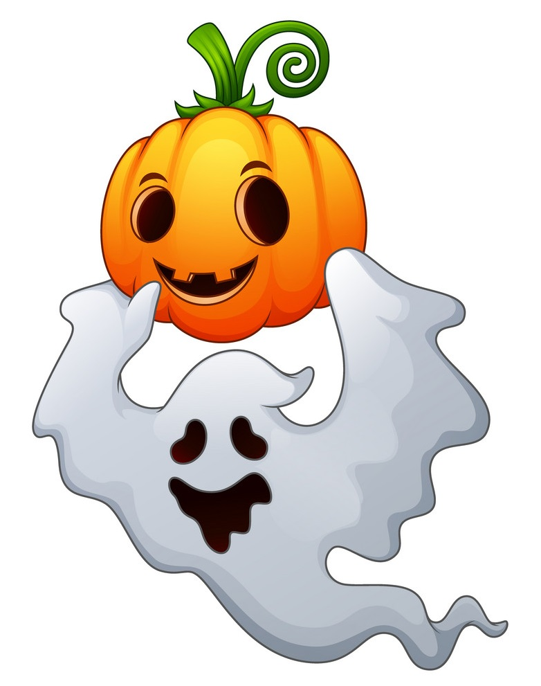 halloween ghosts holding a pumpkin vector 21588813